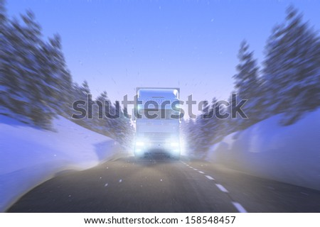 Truck Winter Christmas Express 3D - stock photo