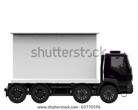 truck with blank billboard isolated on white background - stock photo