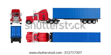 Truck with cargo container isolated on white background. Model. - stock photo