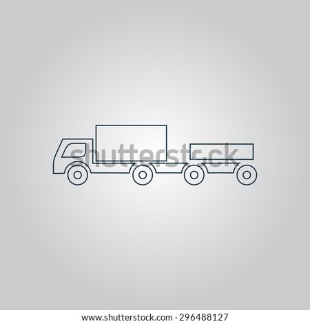 truck with trailer. Flat web icon or sign isolated on grey background. Collection modern trend concept design style  illustration symbol - stock photo