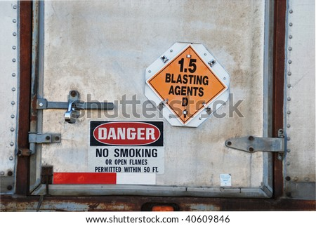 Trucks loaded with Blasting Agents in Storage Yard, Austin Powder Company, Roseburg OR - stock photo