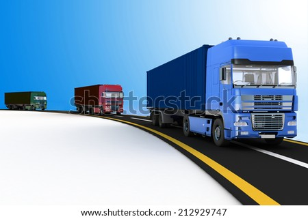 Trucks on freeway. 3d render illustration. Concept of logistics, delivery and transporting by freight motor transport. - stock photo