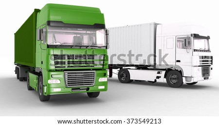 Trucks with semi-trailer isolated on white background - stock photo