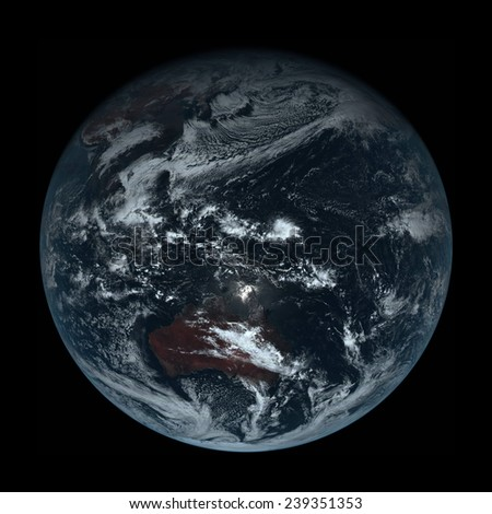 True Color Photo of Earth,Elements of this image are furnished by Himawari 8 satellite operated by the Japan Meteorological Agency  - stock photo