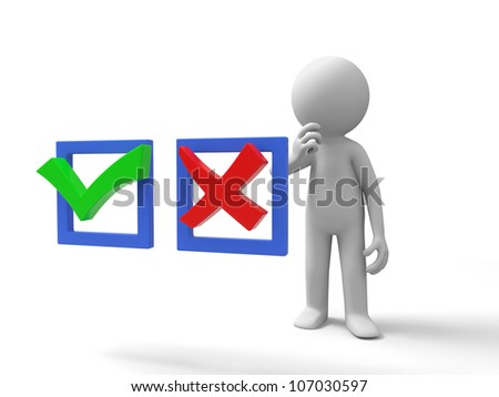 True or false /A man is thinking about the right/wrong symbol - stock photo