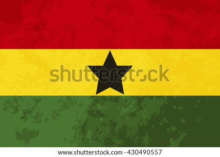 True proportions Ghana flag with grunge texture - stock photo