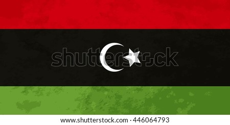 True proportions Libya flag with grunge texture - stock photo