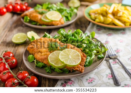True Viennese schnitzel with little salad and lime, french fries and beautiful cherry tomatoes - stock photo