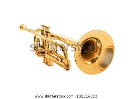 Trumpet isolated on a white - stock photo