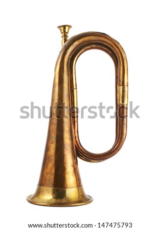 Trumpet musical metal instrument isolated over white background, side view - stock photo