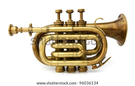 Trumpet old brass instrument - stock photo