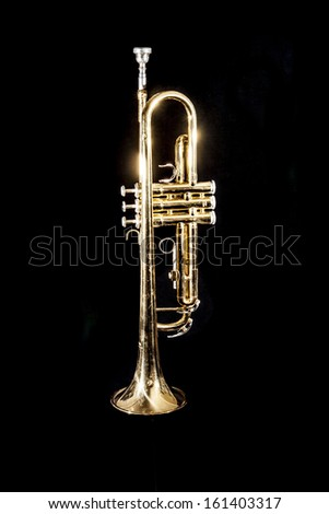 Trumpet on Black Background - stock photo