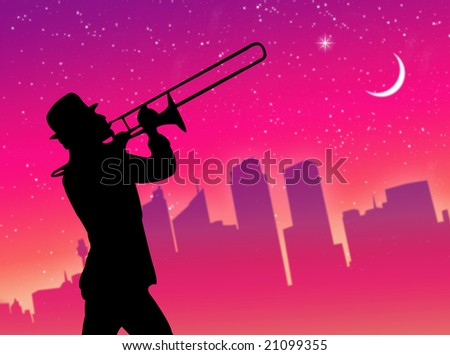 Trumpet player performance in front of the city in a colorful night - stock photo
