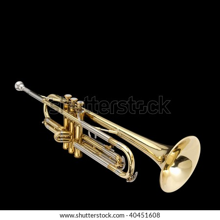 Trumpet, wind instrument. On a black background. - stock photo