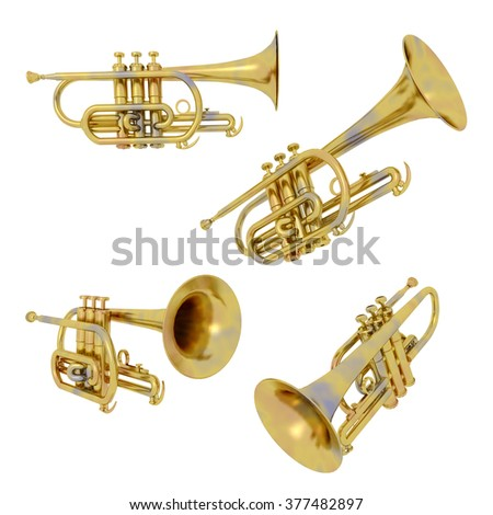 Trumpets isolated on white background Computer generated 3D illustration - stock photo