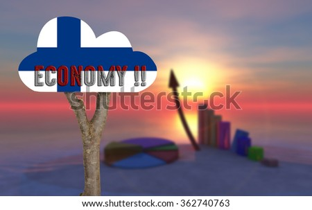 trunk and wooden sign indicating the country's economy ; finland - stock photo