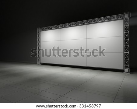 Truss stage on concrete floor B. 3D rendering - stock photo
