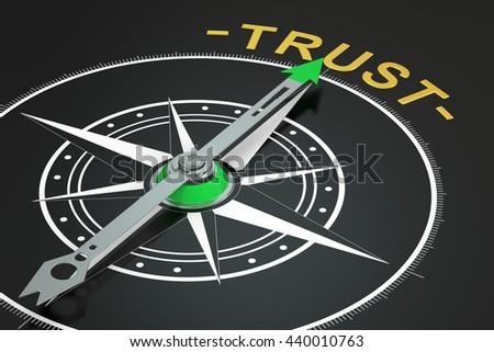 Trust compass concept, 3D rendering - stock photo