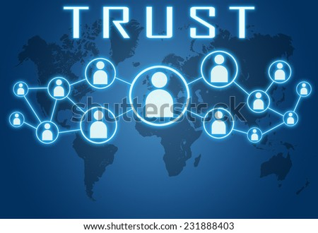Trust concept on blue background with world map and social icons. - stock photo