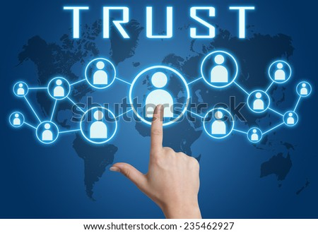 Trust concept with hand pressing social icons on blue world map background. - stock photo
