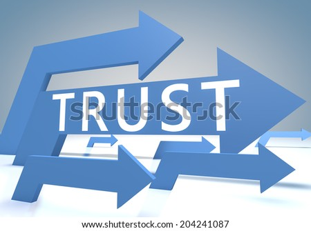 Trust 3d render concept with blue arrows on a bluegrey background. - stock photo