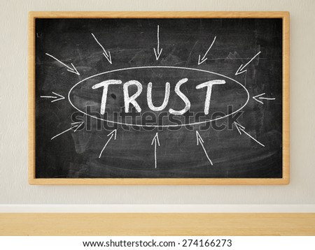 Trust - 3d render illustration of text on black chalkboard in a room. - stock photo