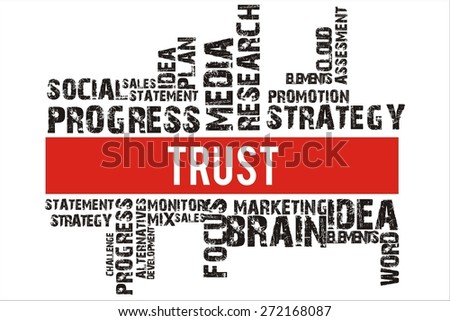 Trust in word collage with red background color - stock photo