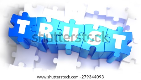 Trust - White Word on Blue Puzzles on White Background. 3D Illustration. - stock photo