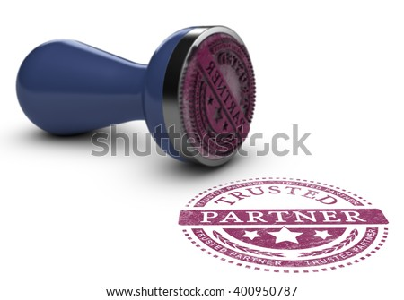 Trusted partner mark imprinted on a white background with rubber stamp. Concept background of trust in business and partnership. 3d illustration. - stock photo