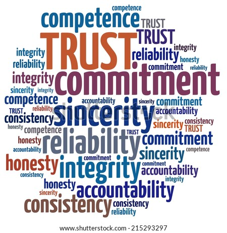 Trustworthy in word collage - stock photo