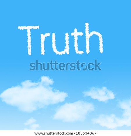 Truth  cloud icon with design on blue sky background - stock photo