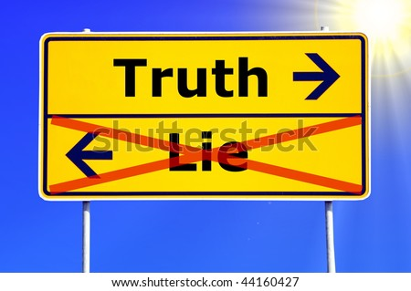 truth or lie concept with yellow road sign - stock photo