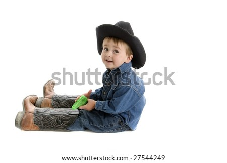 Trying to fill dad's boots - stock photo