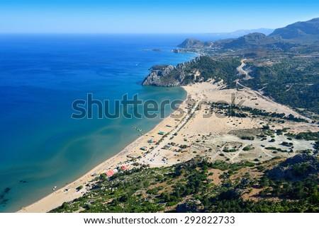 Tsambika beach on the island of Rhodes in Greece - stock photo