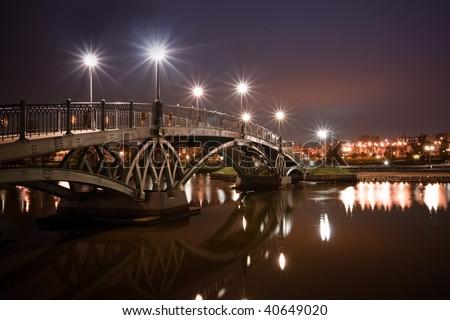 Tsaritsino bridge at night. panorama of Moscow Estate, Russia - stock photo