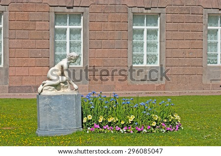 TSARSKOYE SELO, SAINT-PETERSBURG, RUSSIA - JUNE 29, 2015: The Private Garden and The Nymph Sculpture by Parmen Zabello. The Tsarskoye Selo is State Museum-Preserve. Located near Saint-Petersburg - stock photo