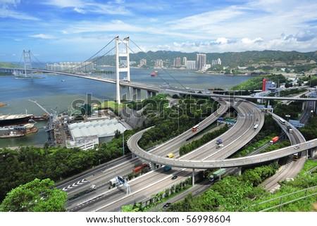 Tsing Ma Bridge - stock photo