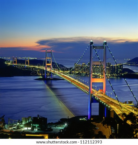 Tsing-Ma Bridge - Hong Kong - stock photo