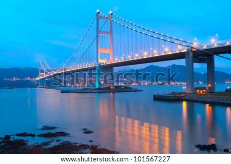 Tsing ma bridge sunset - stock photo