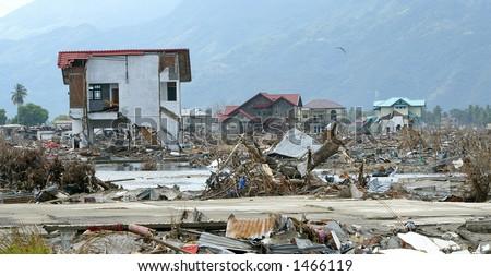Tsunami devastated area, Aceh, Indonesia 2005 - stock photo