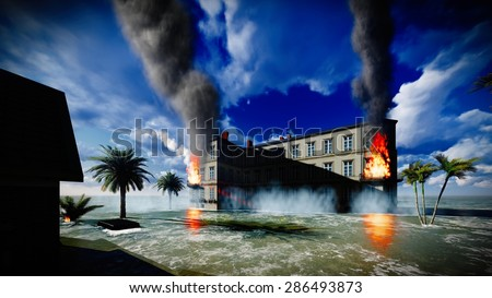 Tsunami devastating the city - scene of destruction - stock photo