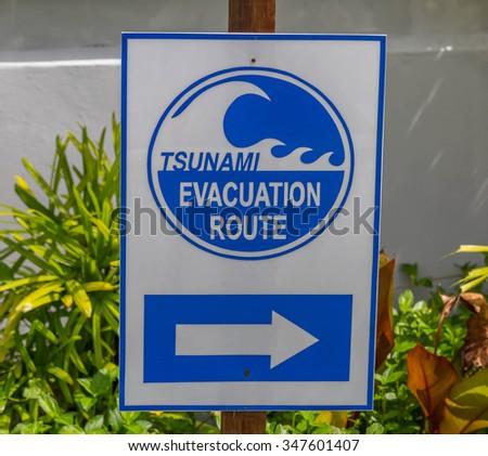 Tsunami Evacuation Route - stock photo