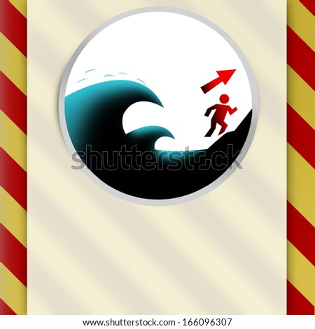 Tsunami Hazard Zone. Go to High Ground or Inland (Blank Template) - stock photo