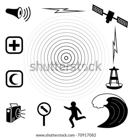 Tsunami Icons. Earthquake epicenter, tidal wave, siren, radio, emergency aid services, tsunami detection buoy, satellite & transmission, fleeing person, evacuation sign. Black on white background. - stock photo