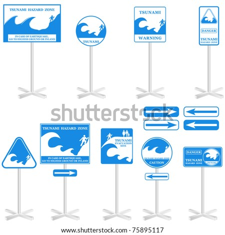 TSUNAMI Pole sign Set: - isolated on white. Gives you information about the possible danger. Ready to print - stock photo