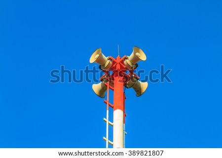 Tsunami siren warning loudspeakers are installed on the beach in Thailand - stock photo