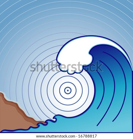 Tsunami Tidal Wave approaching coast with earthquake epicenter in concentric circles. - stock photo