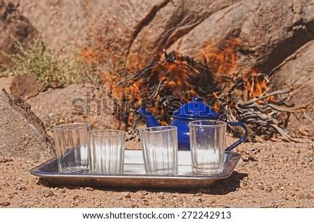 tuareg tea in zamur region, western sahara - stock photo