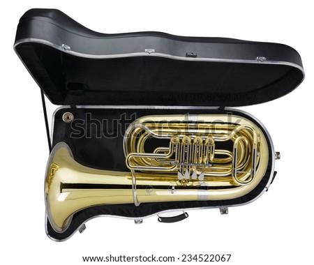 Tuba in case, Studio Shot - stock photo