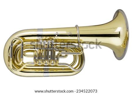 Tuba on white background, Studio Shot - stock photo